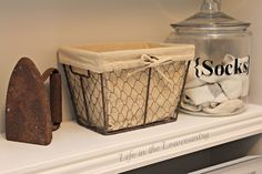 Great laundry room makeover, love the sock jar!