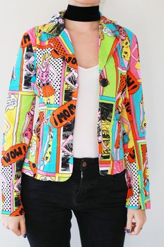Check out this item in my Etsy shop https://www.etsy.com/listing/256293461/vintage-comic-jacket-90s-vintage-pop-art