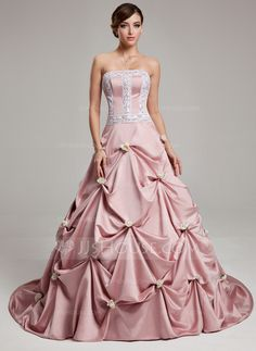 Quinceanera Dresses - $196.49 - Ball-Gown Strapless Court Train Satin Quinceanera Dress With Ruffle Lace Flower(s) (021017541) http://jjshouse.com/Ball-Gown-Strapless-Court-Train-Satin-Quinceanera-Dress-With-Ruffle-Lace-Flower-S-021017541-g17541
