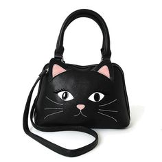 Black Kitty Cat Face Black Satchel Hand Bag Purse