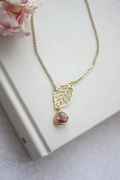 Champagne Peach Glass Small Gold Leaf Charm Lariat by Marolsha