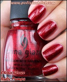 China Glaze- Ruby Pumps. One of the very few reds I wear. Beautiful. And can you believe I didnt wear it this christmas!? Oh well This looks good anytime of the year!