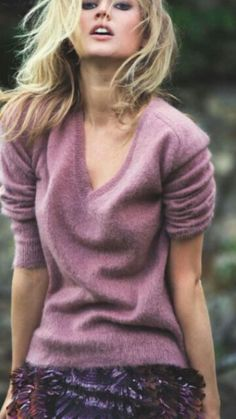 The definitive sensual summer sweater statement and the stuff of memories. Warm, fragrant nights under patio lanterns, angora over skin, jazz and liqueurs....