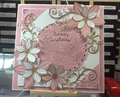 Been working on this card for a couple of hours today.  Not too sure about the gilding in the centre though.  Used spellbinders and Stamps by Chloe.