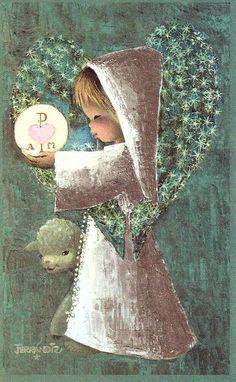 Vintage Christmas Cards, Vintage Cards, Vintage Images, Catholic Art, Religious Art, Baptism Cards, Christian Images, Illustrator, Spanish Painters