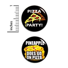 """Funny Pizza Button Pin 2 Pack Pizza Party Pineapple Does Go On Pizza 1"""" 2P2-4 Funny Buttons, Cool Buttons, Pizza Party, Introvert Humor, Work Gifts, Funny Pizza, Work Humor, Pin Badges, Funny Tshirts"""