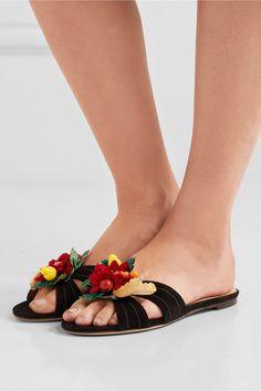 Charlotte Olympia - Tropical Embellished Suede Slides - Black - IT40.5