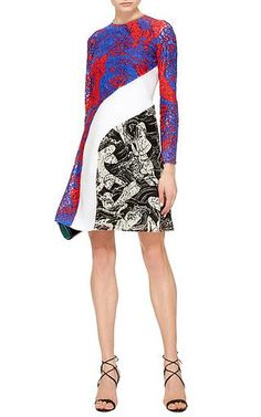 Carven - Printed Lace Long Sleeve Dress