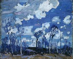 Tom Thomson (Canadian Nocturne: The Birches 1916 oil on wood panel x cm Ottawa National Gallery of Canada Emily Carr, Canadian Painters, Canadian Artists, Nocturne, Landscape Art, Landscape Paintings, Small Paintings, Group Of Seven Paintings, Tom Thomson Paintings
