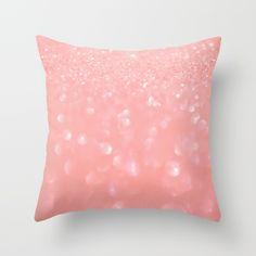 Pink sparkling glitter Throw Pillow