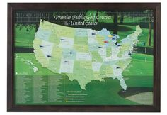 wall map features the sites of the top hundred public golf courses in the nation Public Golf Courses, Cool Fathers Day Gifts, Wall Maps, Travel Maps, Gift Guide, Photo Art, Flag Pins, Golfers, Life