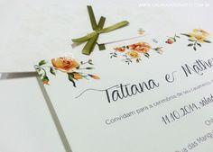 Convite de casamento floral. Modelo 03. Convite de casamento criado pela Galeria de Convites. A partir de R$ 6,00 cada. Tag e laço são opcionais.