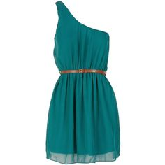 Teal Green Colour Block One Shoulder Chiffon Dress w Belt ($23) ❤ liked on Polyvore