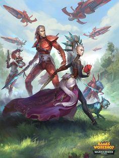 Eldar 40k, Warhammer Eldar, Dark Eldar, Warhammer Fantasy, Warhammer Models, Mermaid Sketch, Character Art, Character Design, Character Concept