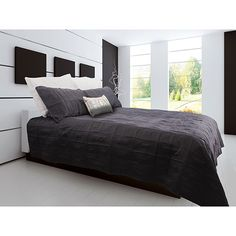 Gouchee Design Brick Lane Collection Brushed Satin Quilt Set - Queen - Charcoal   - Online Only