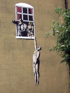 Banksy's famous lover's piece #streetart
