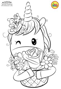 Cuties Coloring Pages for Kids - Free Preschool Printables - Slatkice Bojanke - Cute Animal Coloring Books by BonTon TV Unicorn Coloring Pages, Adult Coloring Book Pages, Cute Coloring Pages, Cartoon Coloring Pages, Disney Coloring Pages, Animal Coloring Pages, Coloring Pages To Print, Free Printable Coloring Pages, Coloring Books