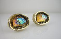 Vintage Cufflinks Lava Rock Glacier Glass Geode Cuff Links Yellow Aurora Borealis