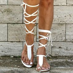 White Strappy Sandals, Lace Up Gladiator Sandals, Ankle Strap Sandals, Flat Sandals, Flats, Leather Sandals, Beach Sandals, Roman Sandals, Sexy Sandals