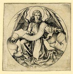 MARTIN SCHONGAUER The Angel of Saint Matthew, ca. 1490, Engraving