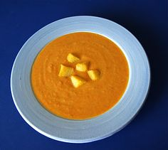 Roasted Carrot and Parsnip Soup with Polenta Croutons | Seasonal & Savory