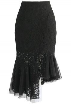 Concinnity in Lace Asymmetric Frill Hem Skirt in Black