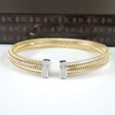 Roberto Coin 18k Yellow Gold 12tcw Primavera Woven Diamond Cuff Bracelet