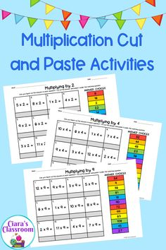 This pack of math resources includes cut and paste activities for practicing times tables and mental maths (x2, x3, x4, x5, x6, x7, x8, x9, x10). These multiplucation cut and paste activity sheets could be used as a warm up activity at the start of maths lessons or could be used for maths stations. The children cut out the answers and stick them below the matching question. Primary School Teacher, Teacher Pay Teachers, Multicultural Classroom, Mental Maths, Times Tables, Math Stations, Activity Sheets, Cut And Paste, Multiplication
