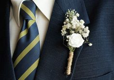 Baby's Breath Rose Boutonniere Rustic Buttonhole by HandyCraftTS