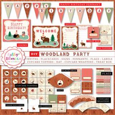 Printable Woodland Party with cupcake toppers, wrappers, bunting
