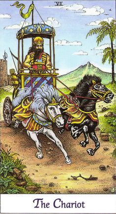 07 - The Chariot | Cosmic Tarot by Norbert Lösche | Underneath a canopy of stars, a man in his chariot pulled by two fast horses. Meaning: triumph, mental and physical balance, commitment, dynamic. Reversed: examination, hard work, obstacles and failure.