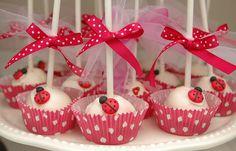 Lady bug cake pops!