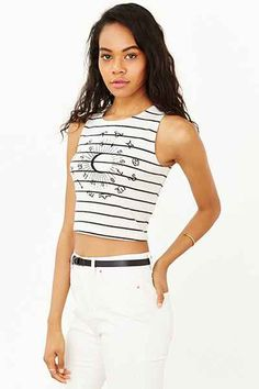 Truly Madly Deeply Striped Astrology Chart Cropped Tank Top - Urban Outfitters