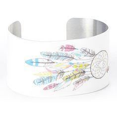 White Dream Catcher Aztec Metal Cuff Bracelet