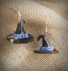 Halloween Earrings witch hat, ideas for Halloween. gift ideas, gift ideas, unusual gifts - SALE-birthday gift for her