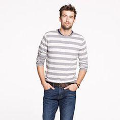 J Crew: Cotton-cashmere crewneck sweater in heather grey stripe