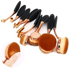BeautyCoco 10 pcs New Fashionable Super Soft Oval Toothbrush Makeup Brush Set Foundation Brushes Contour Powder Blush Conceler Brush Makeup Cosmetic Tool Set Rose Gold * Continue to the product at the image link.