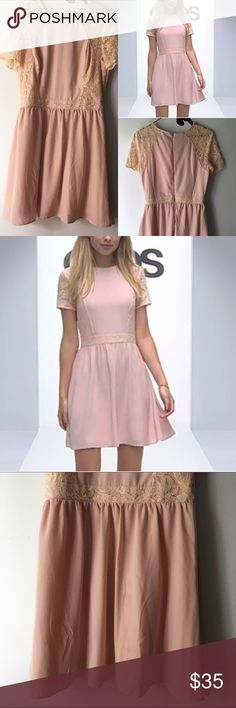 cute & classic • milky pink laced skater dress Color: Milk Pink Size: 8 Material: 100% Polyester Brand: ASOS *Perfect with a statement necklace and stilettos! ASOS Dresses Mini