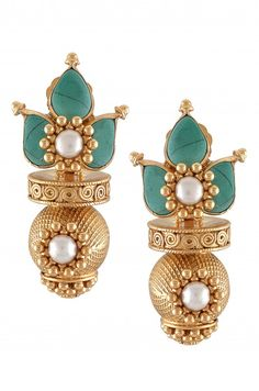 Silver Gold Plated Rawa Pearl Turquoise Earrings