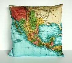 MEXICO map cushion, atlas organic cotton cushion covers, pillow, cushion, 16 inch 41cm. $55.00, via Etsy.