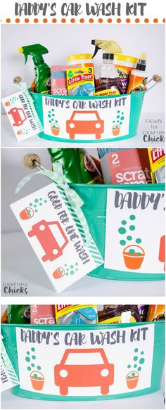 Quick and easy Father's Day gift idea. Put together a quick and easy Father's Day car wash gift basket for all the Dads in your life. gift ideas for him Fathers Day Gift Basket, Fathers Day Presents, Fathers Day Crafts, Gifts For Father, Boyfriend Presents, Father Father, Baskets For Men, Gift Baskets, Raffle Baskets