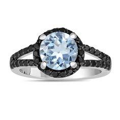 Aquamarine And Black Diamond Engagement Ring 2.14 by JewelryByGaro