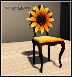 C-Stylez by CanTell Mizser - Sunflower Chair with Sit Animation! Sunflower Themed Kitchen, Sunflower Room, Sunflower Kitchen Decor, Funky Furniture, Painted Furniture, Single Chair, Painted Chairs, Kitchen Themes, Home Projects