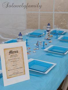 Table thème Phare  baptême Mer, Bateau blanc et bleu