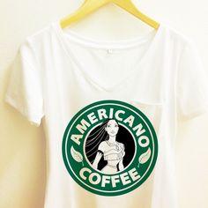 ef761e5366174 Pocahontas Starbucks - Americano Coffee Pocket Tee Sleeve Polyester Thin  Shirt Women - Disney Princess -