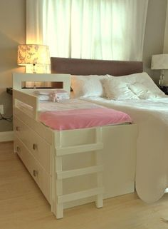 Our gorgeous Talya Bed comes with two spacious drawers, a safety rail and the cutest toddler ladder. Perfect for your beautiful little munchkin.  Visit our web site www.happytoddlerbeds.co.za