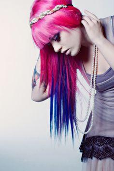 hair, hair color, multi-colored hair, pink hair, pink, blue hair, blue