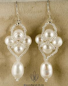 Pearls in the net earringsE820 by Fleur-de-Irk.deviantart.com on @deviantART