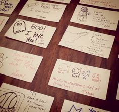 Cute little notes in kids' lunchboxes - use white blank business cards & business card-sized envelopes in assorted colors.