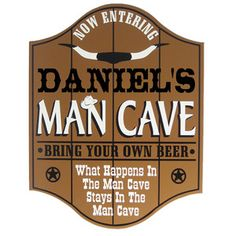 Personalized Wooden Man Cave Sign Western Cowboy Style Home Pub Bar Plaque | eBay